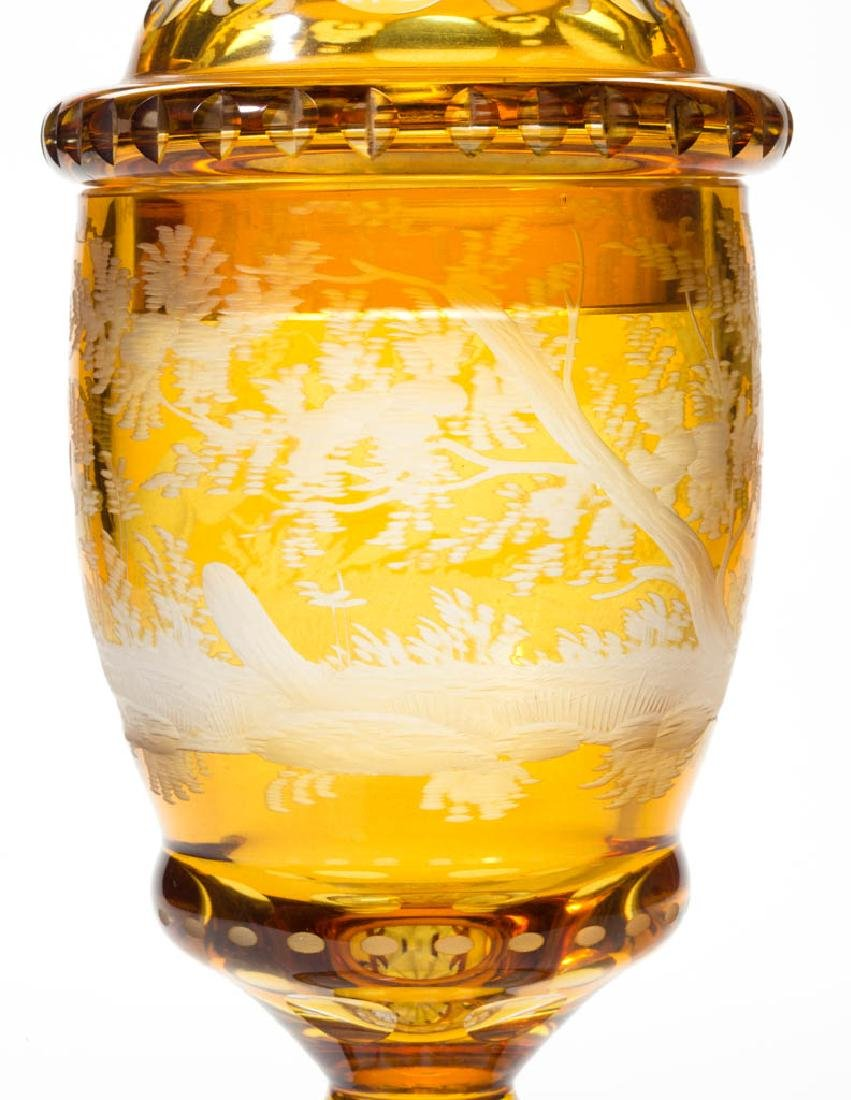 BOHEMIAN CUT OVERLAY AND ENGRAVED POKAL - 4