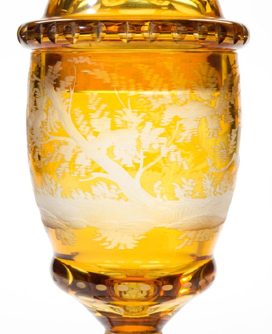 BOHEMIAN CUT OVERLAY AND ENGRAVED POKAL - 5