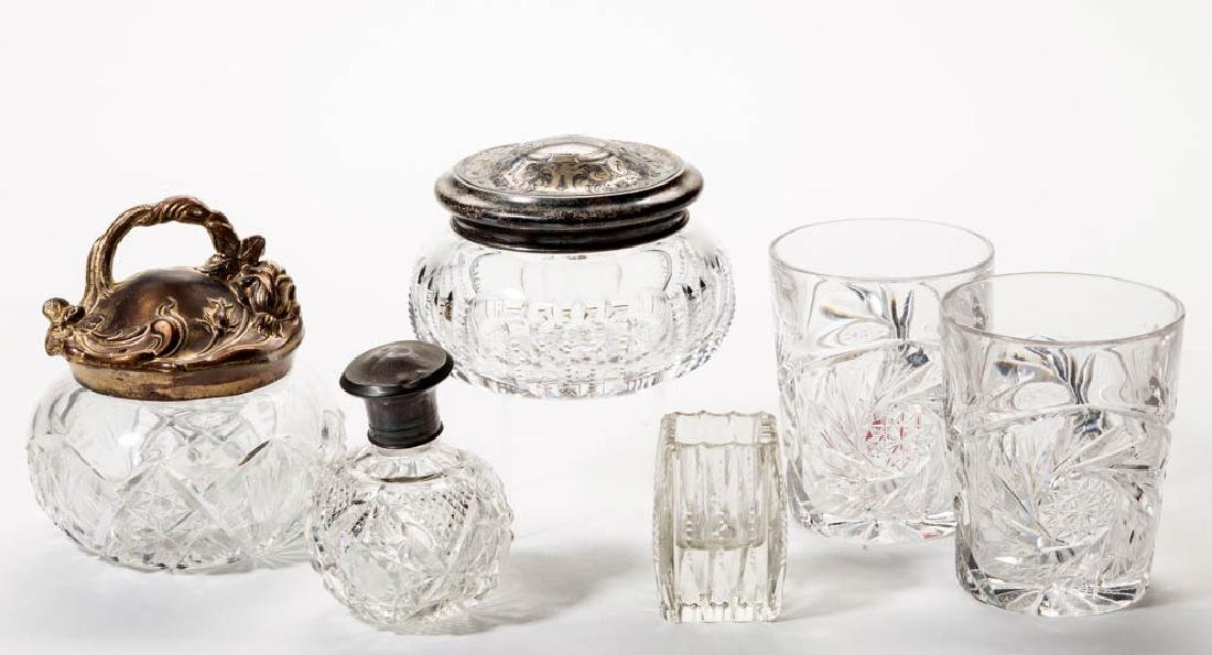 ASSORTED CUT GLASS ARTICLES, LOT OF SIX