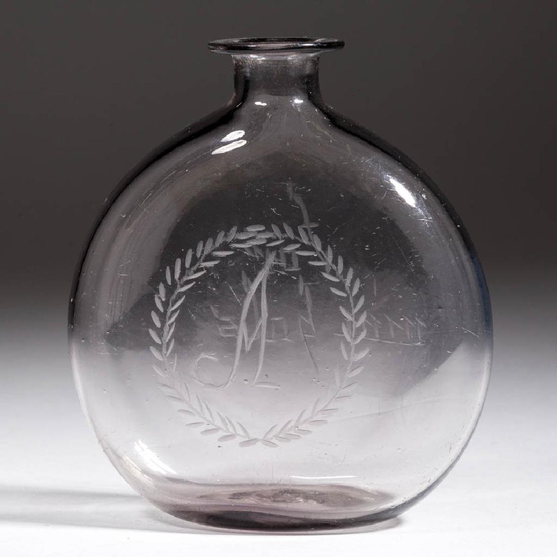 FREE-BLOWN AND ENGRAVED POCKET FLASK