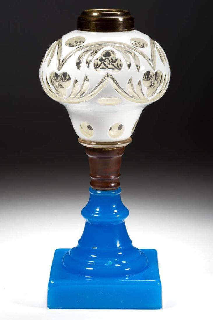 CUT OVERLAY STYLIZED TREFOIL KEROSENE STAND LAMP