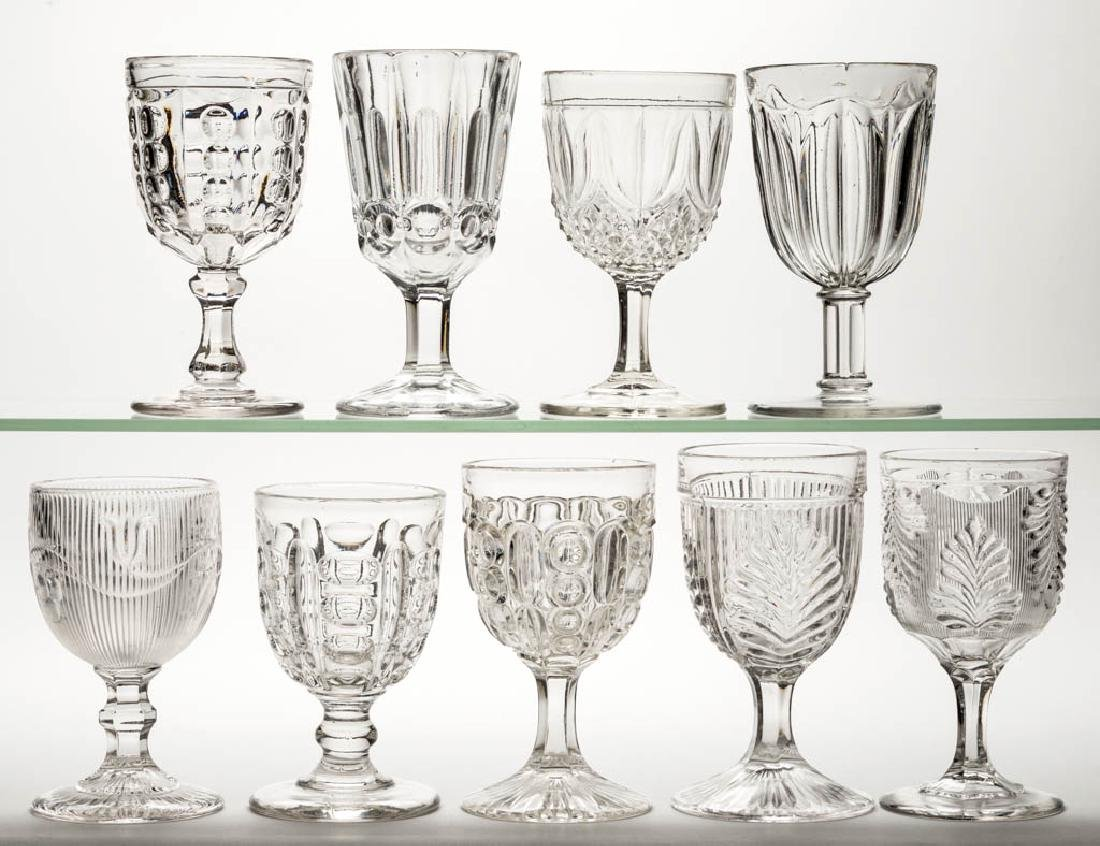 ASSORTED FLINT EAPG GOBLETS, LOT OF NINE