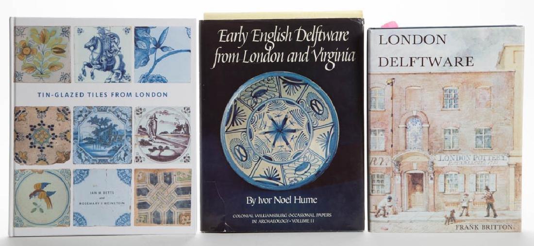 ENGLISH LONDON DELFT CERAMIC VOLUMES, LOT OF THREE