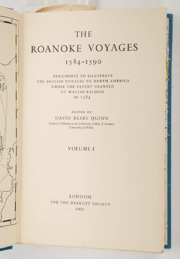 AMERICAN / BRITISH HISTORY ROANOKE VOYAGES VOLUMES, LOT - 2