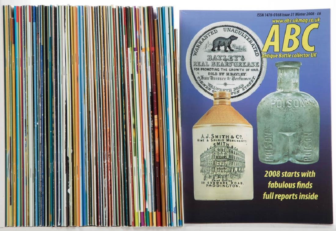GLASS BOTTLES VOLUMES / PERIODICALS, LOT OF 67