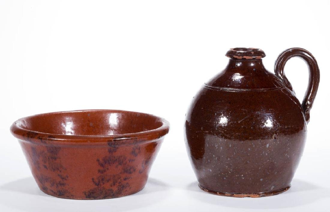 AMERICAN EARTHENWARE / REDWARE ARTICLES, LOT OF TWO