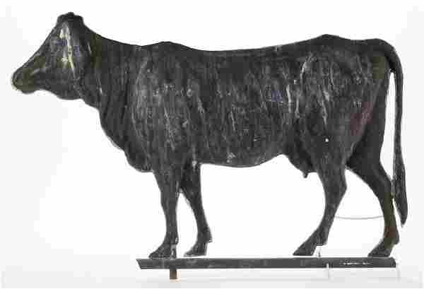FOLK ART FULL-BODY MOLDED-COPPER COW WEATHERVANE