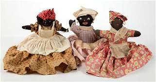 BLACK AMERICANA MAMMY STYLE CLOTH DOLLS LOT OF THREE