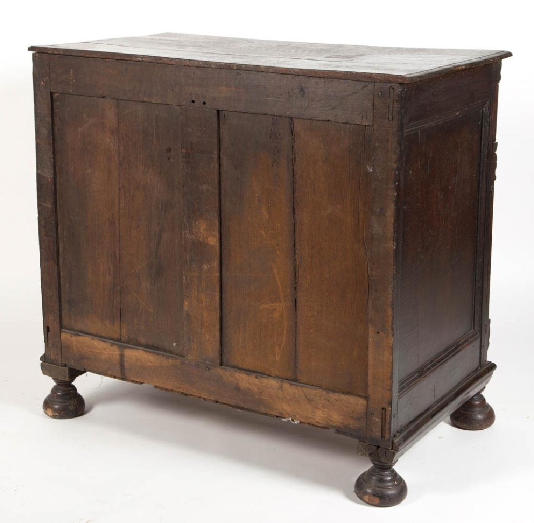WILLIAM AND MARY-STYLE CARVED AND INLAID OAK LINEN - 3