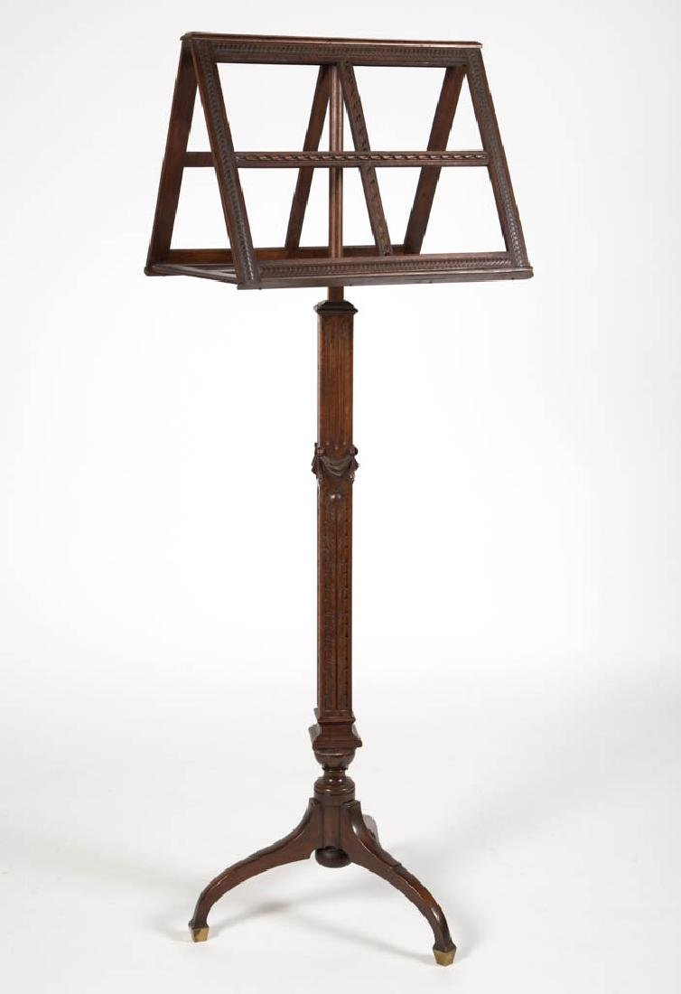 NEOCLASSICAL CARVED MAHOGANY MUSIC LECTERN / STAND