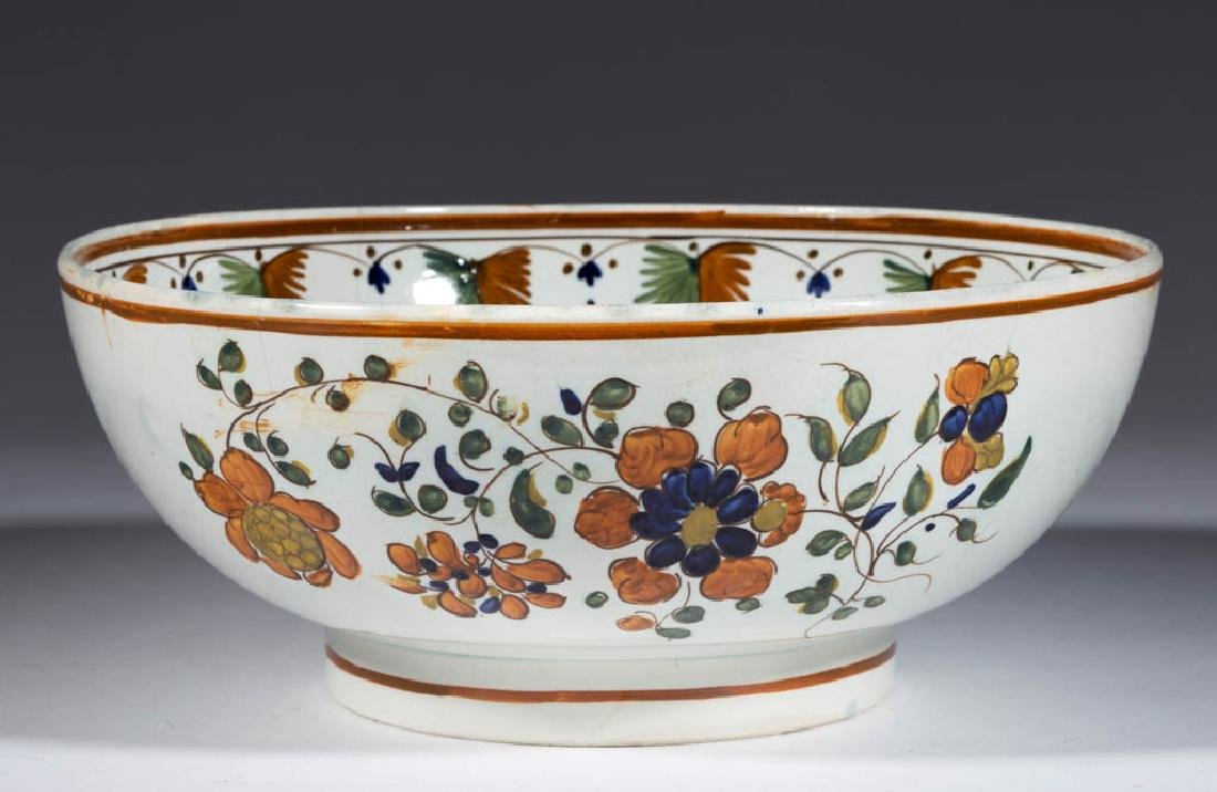 ENGLISH PEARLWARE CERAMIC PUNCH BOWL