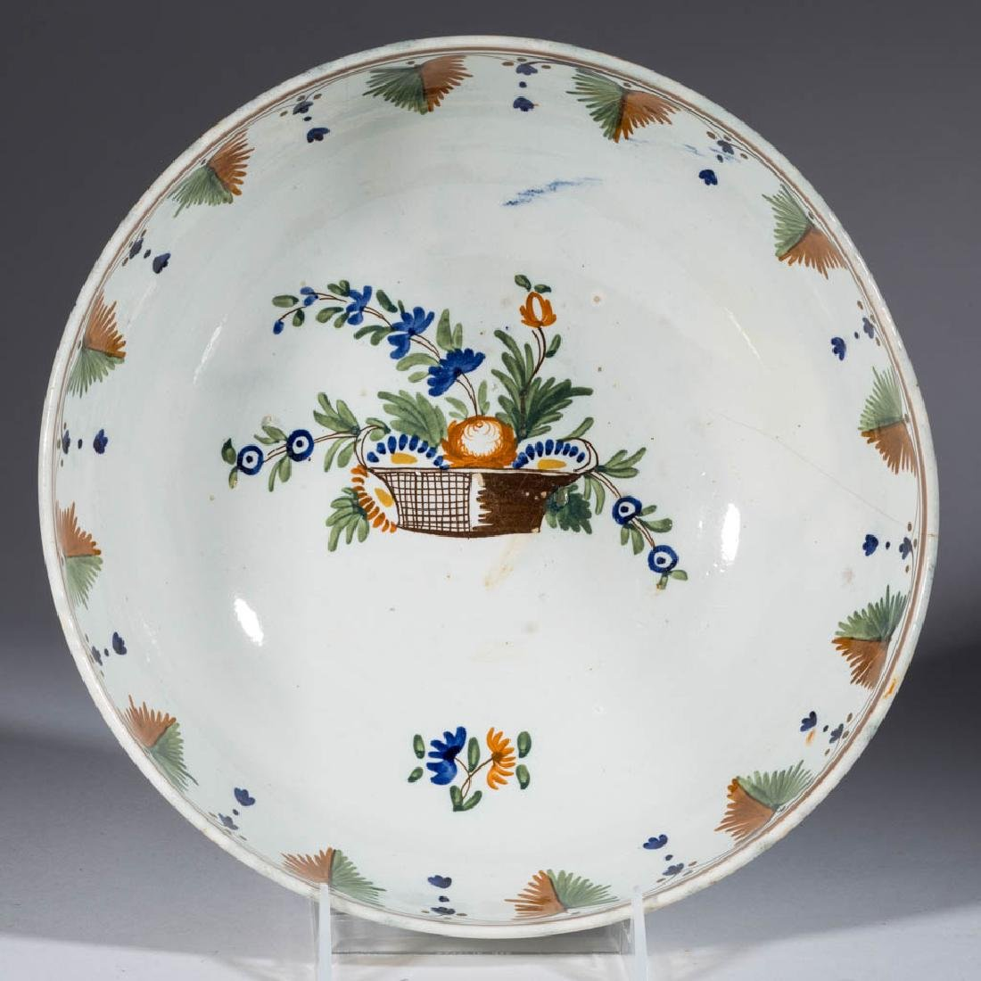 ENGLISH PEARLWARE CERAMIC PUNCH BOWL - 2