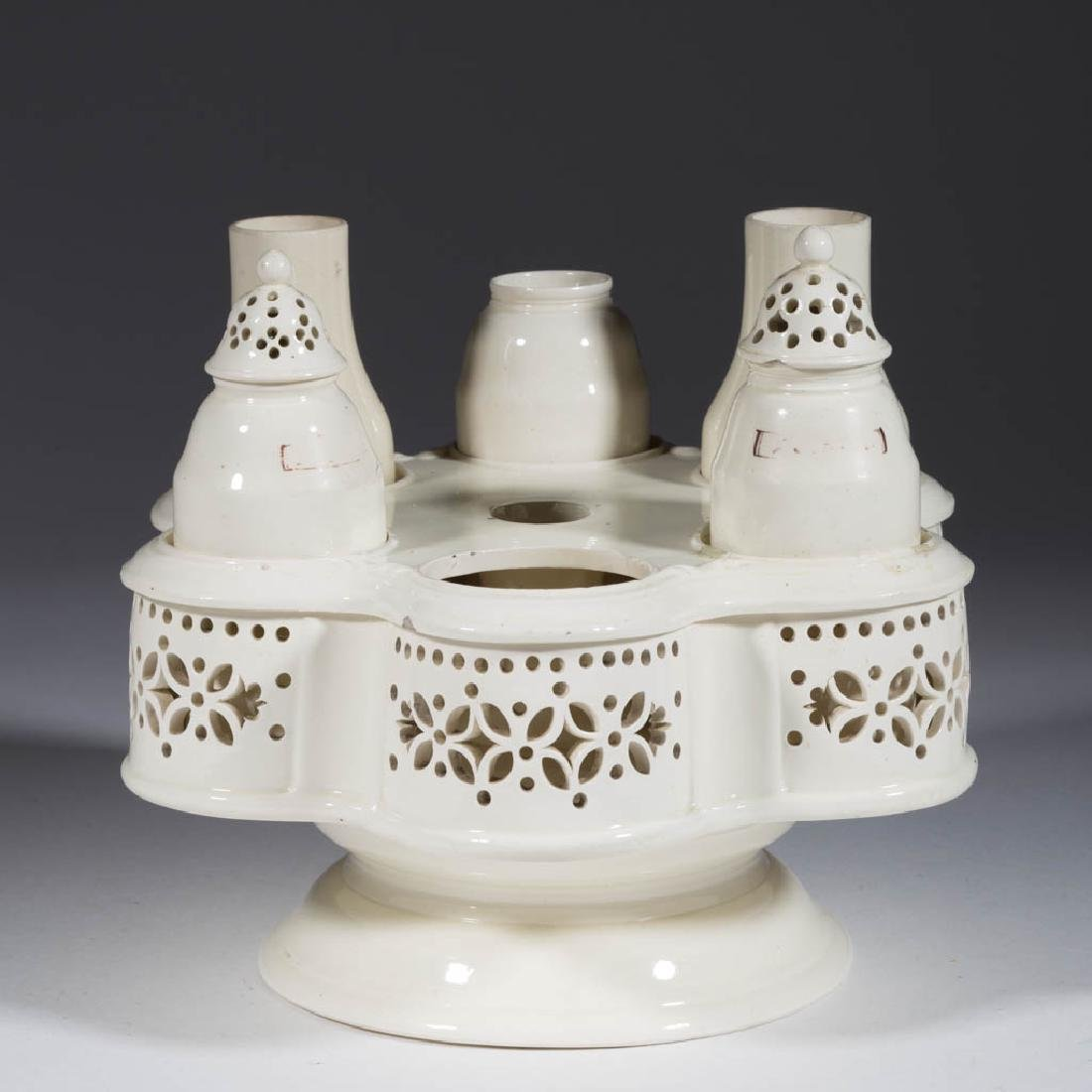 ENGLISH / CONTINENTAL CREAMWARE CERAMIC CONDIMENT SET