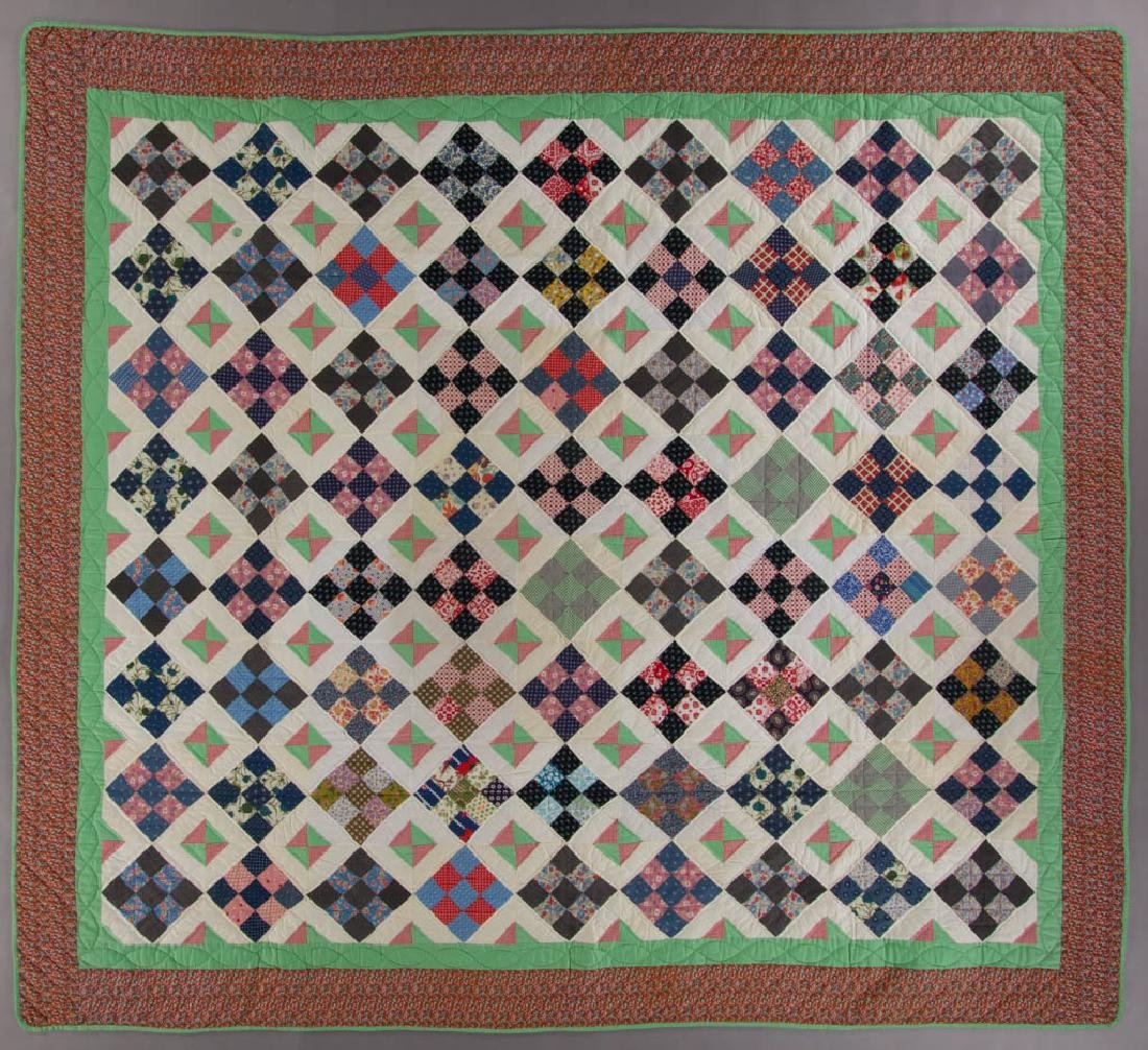 MID-ATLANTIC NINE PATCH AND BROKEN DISHES PIECED QUILT