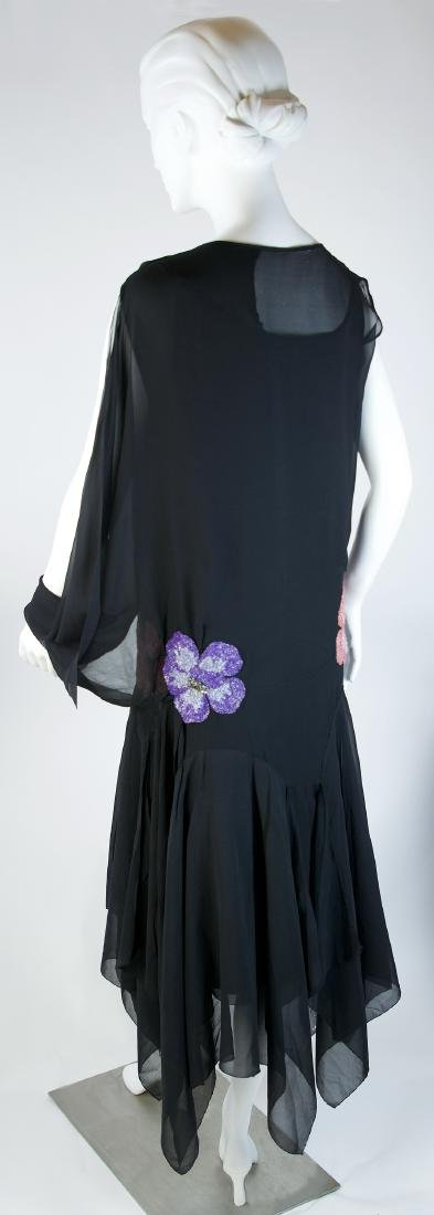 SILK CHIFFON AND SATIN DRESS WITH SIDE SCARF - 2
