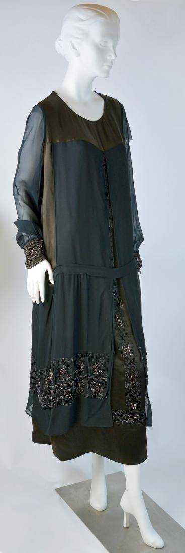 BEADED SILK CHIFFON AND SATIN LUXURY DAY DRESS