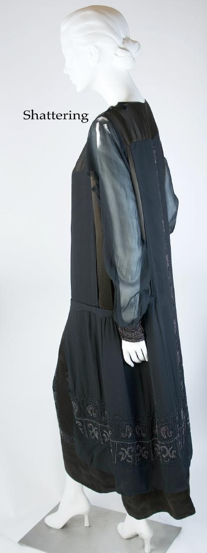 BEADED SILK CHIFFON AND SATIN LUXURY DAY DRESS - 4
