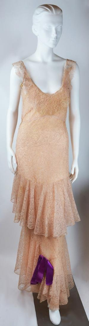 1930'S COUTURE PINK SILK CHANTILLY LACE GOWN AND