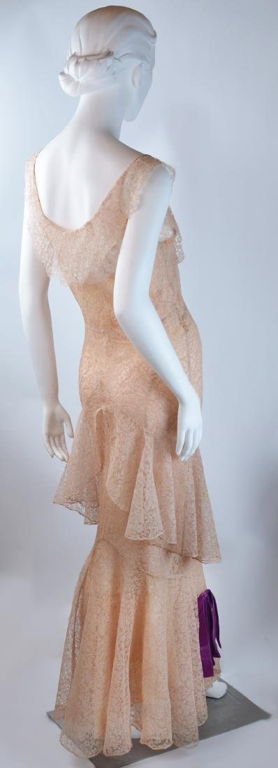 1930'S COUTURE PINK SILK CHANTILLY LACE GOWN AND - 2