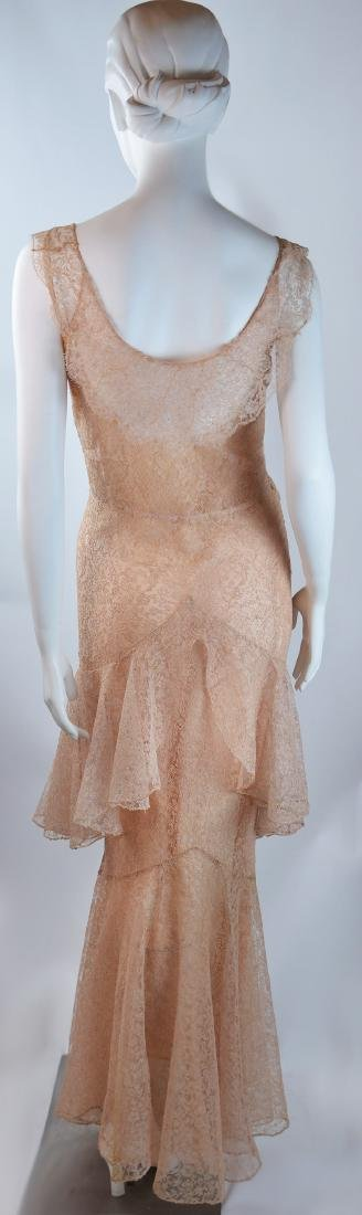 1930'S COUTURE PINK SILK CHANTILLY LACE GOWN AND - 3