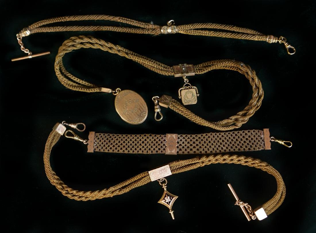 EDWARDIAN HAIR WATCH FOBS, LOT OF FOUR