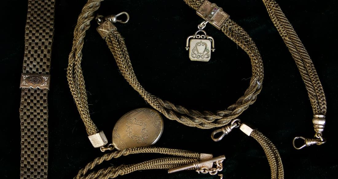 EDWARDIAN HAIR WATCH FOBS, LOT OF FOUR - 2