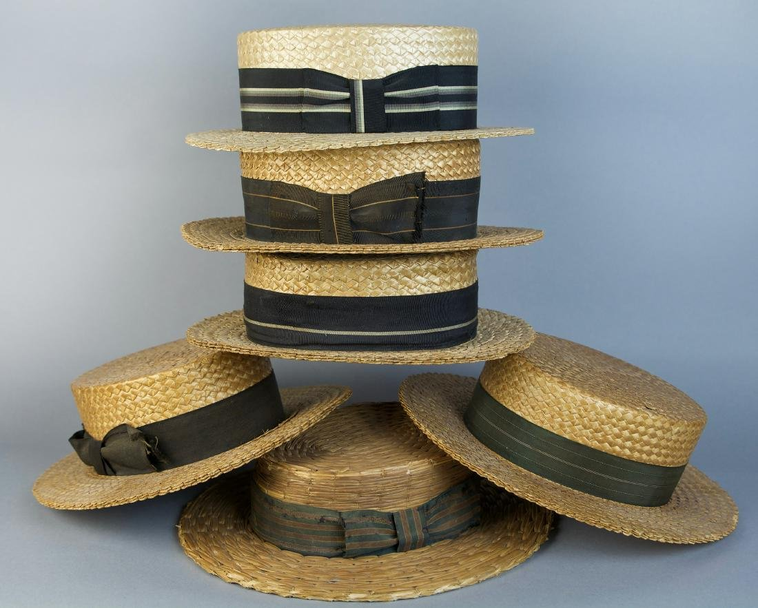 ASSORTED MAN'S STRAW BOATER HATS, LOT OF SIX