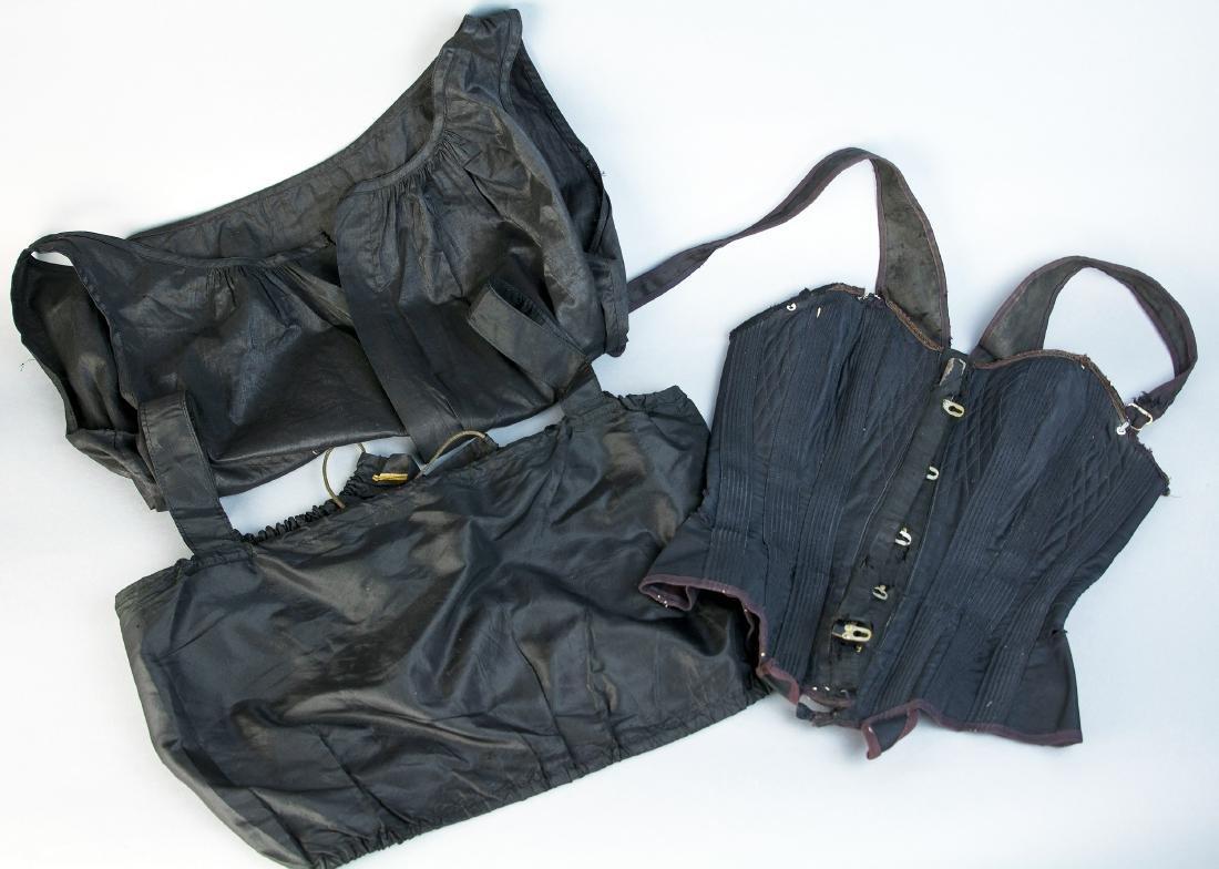 VICTORIAN BLACK BRASSIERE, CORSET, AND CORSET COVER,
