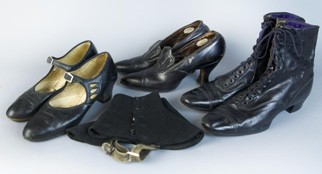 ASSORTED LADY'S ANTIQUE FOOTWEAR AND RELATED, LOT OF