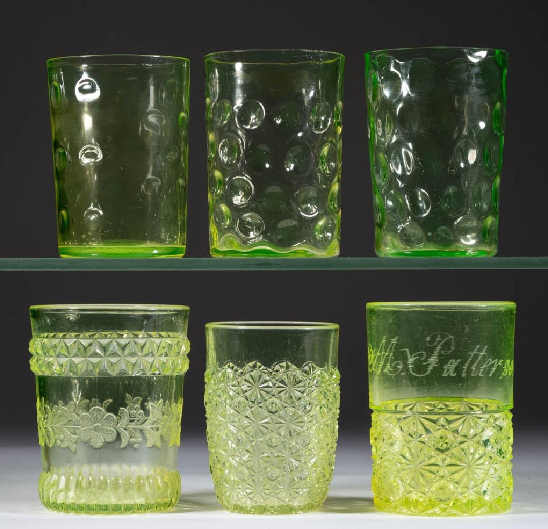 ASSORTED VASELINE GLASS TUMBLERS, LOT OF SIX