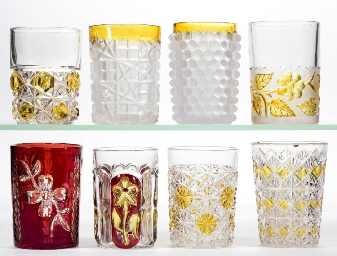 ASSORTED EAPG - STAINED TUMBLERS, LOT OF EIGHT