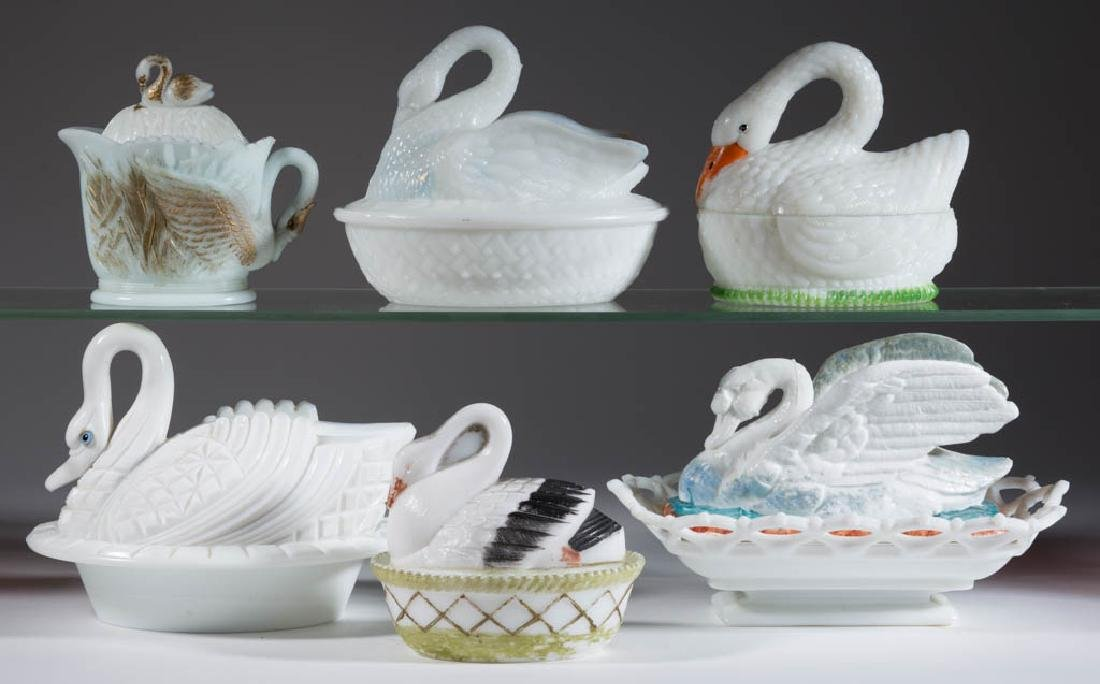 ASSORTED PRESSED NOVELTY SWAN COVERED DISHES, LOT OF