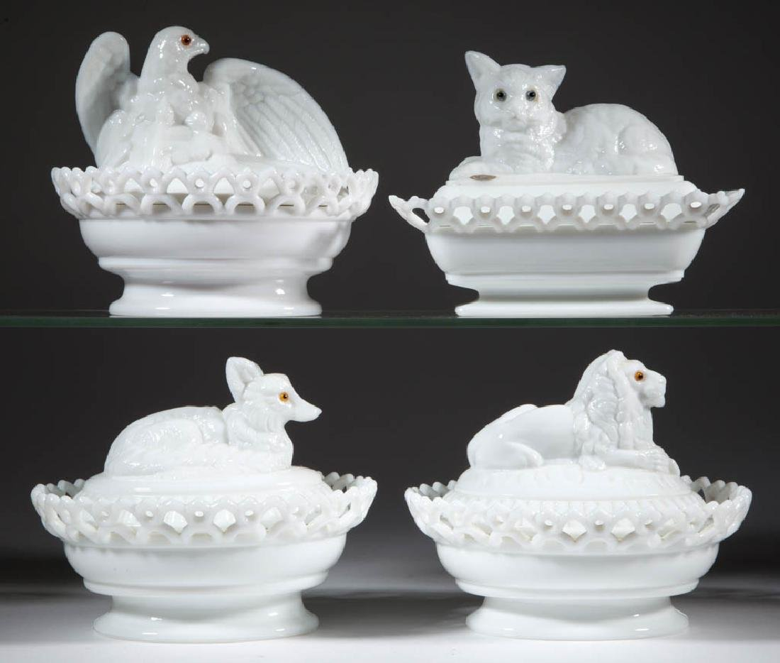 WESTMORELAND PRESSED NOVELTY ANIMAL COVERED DISHES, LOT