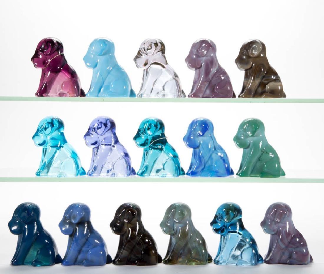 DEGENHART GLASS DOG / POOCH FIGURES, LOT OF 16