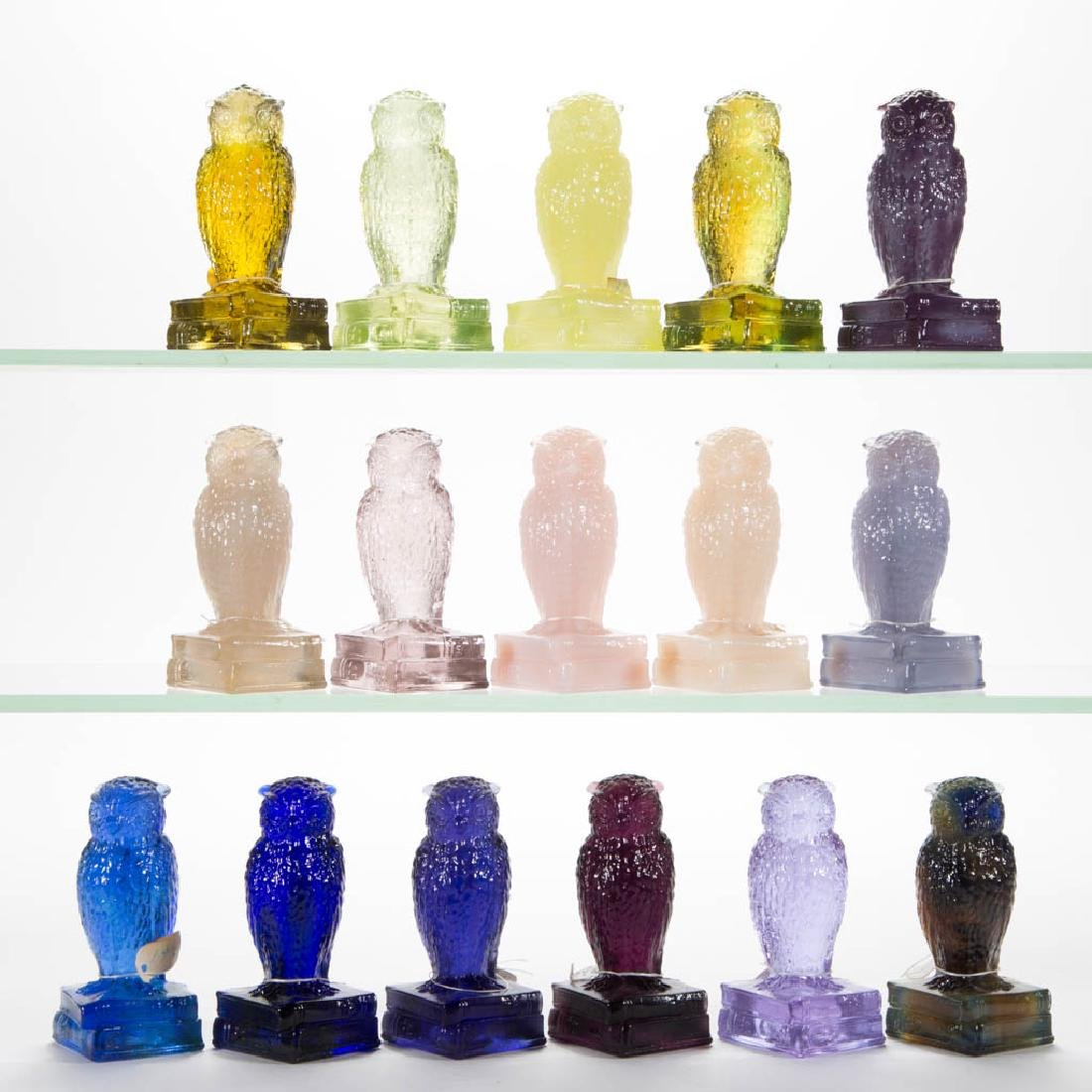 DEGENHART GLASS OWL FIGURES, LOT OF 16