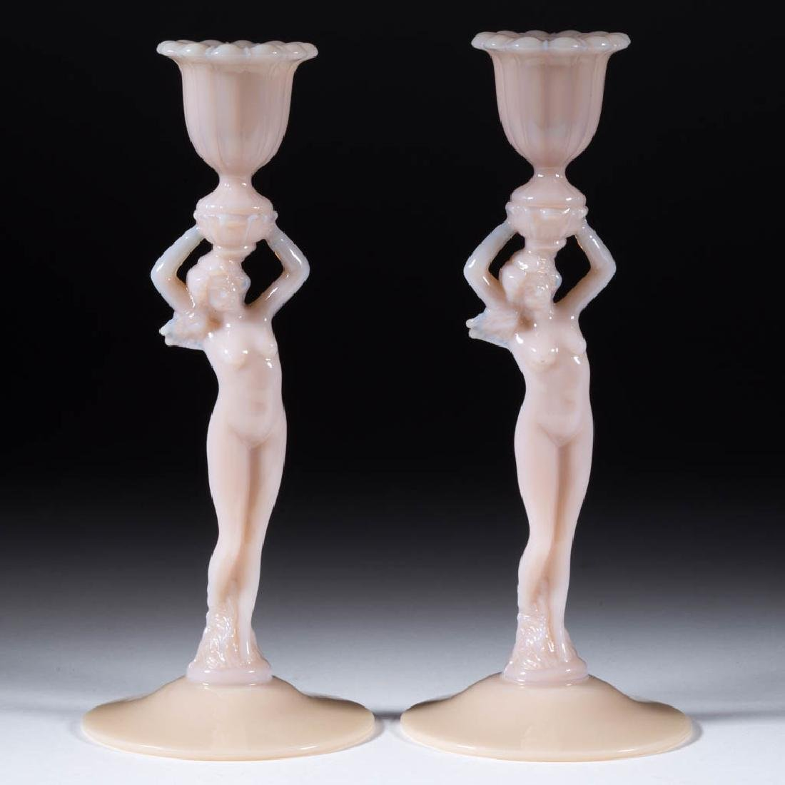 CAMBRIDGE NO. 3011 STATUESQUE NUDE-STEM PAIR OF