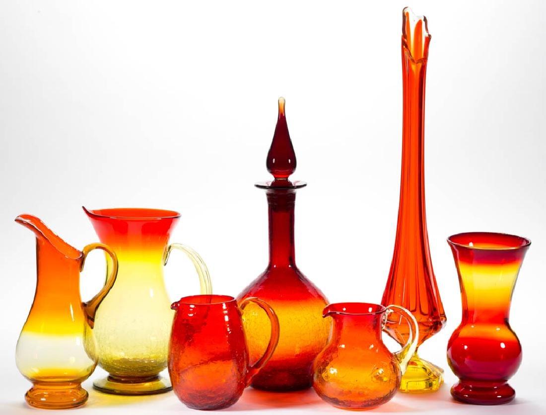 ASSORTED BLENKO ART GLASS ARTICLES, LOT OF SIX