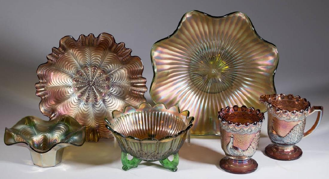 ASSORTED CARNIVAL GLASS ARTICLES, LOT OF SIX