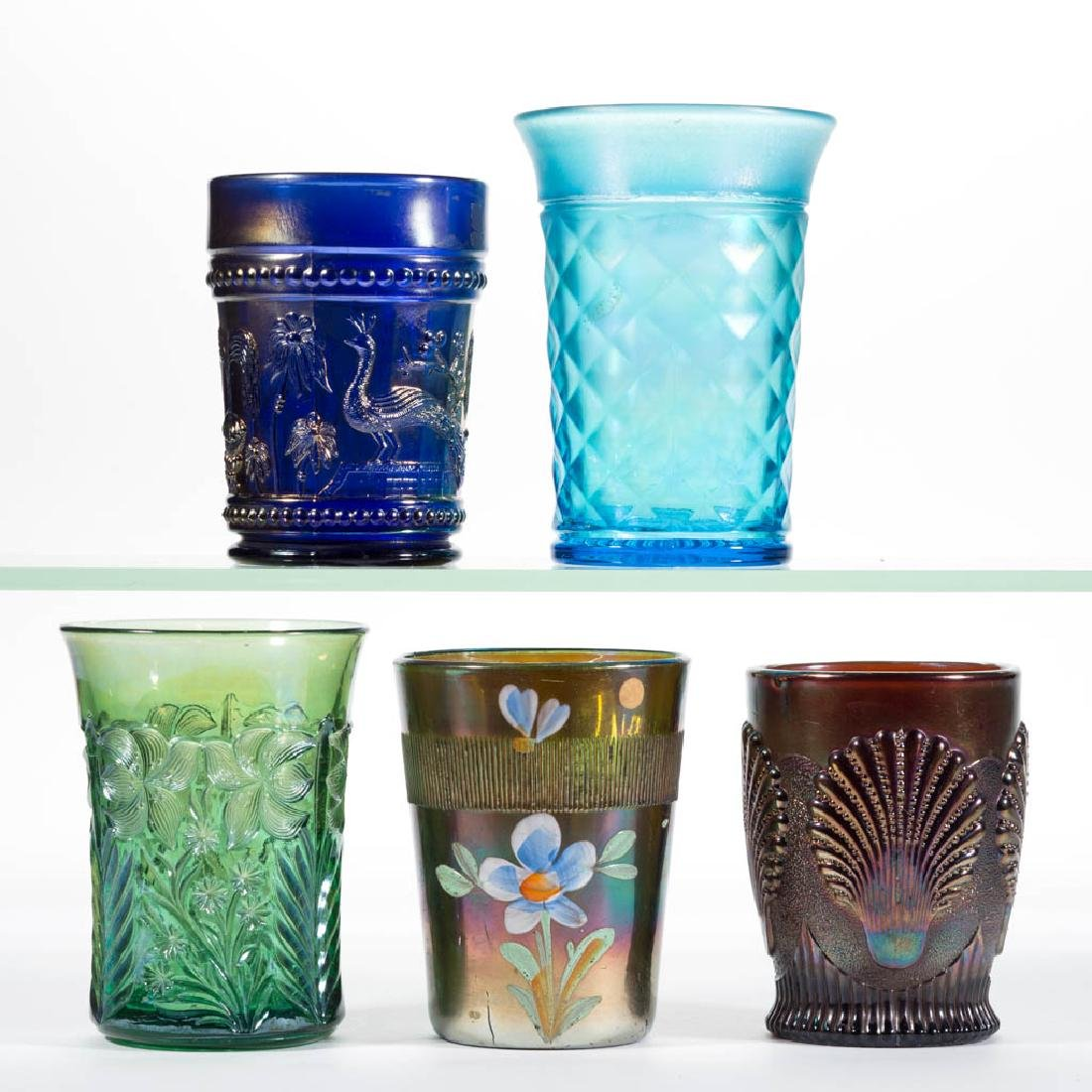 ASSORTED CARNIVAL GLASS TUMBLERS, LOT OF FIVE