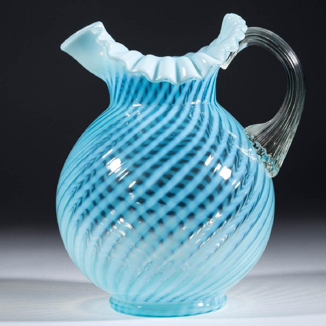 L. G. WRIGHT SWIRL OPALESCENT WATER PITCHER
