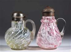 ASSORTED VICTORIAN SPATTER GLASS SYRUP PITCHERS, LOT OF