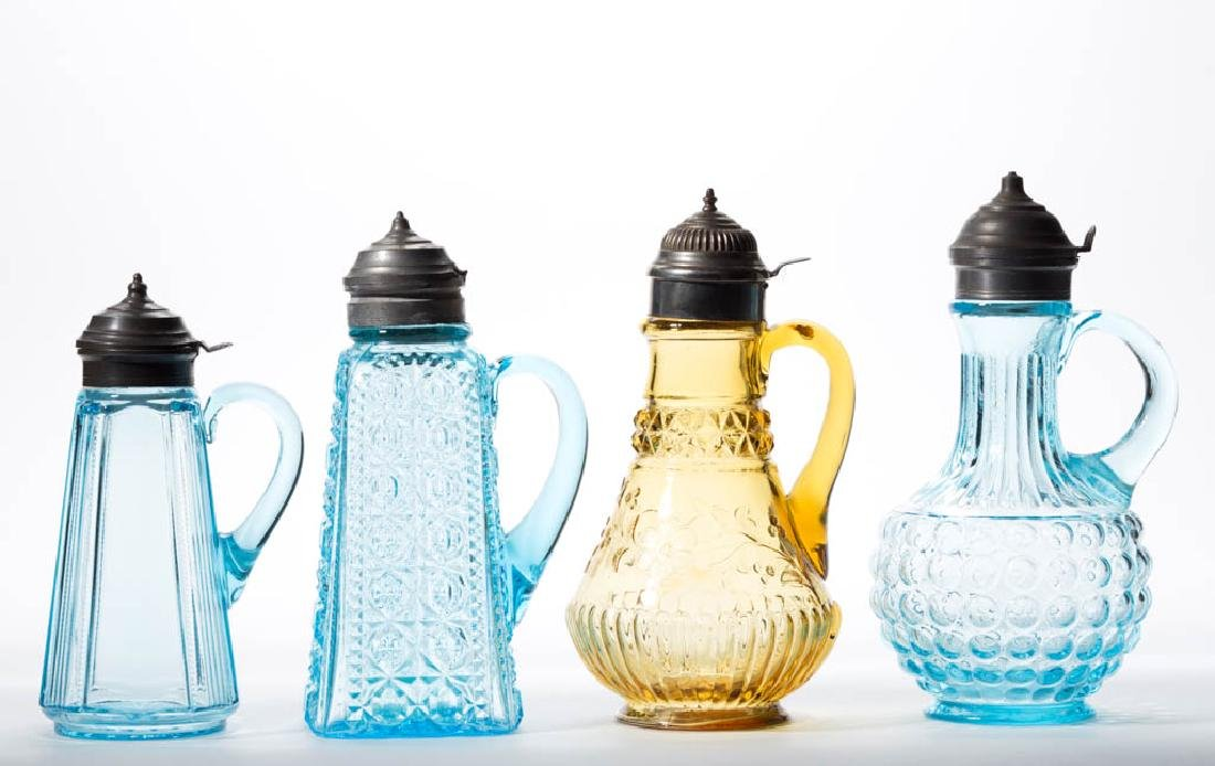 ASSORTED EAPG SYRUP PITCHERS, LOT OF FOUR