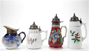 ASSORTED AMERICAN CERAMIC SYRUPS / JUGS, LOT OF FOUR