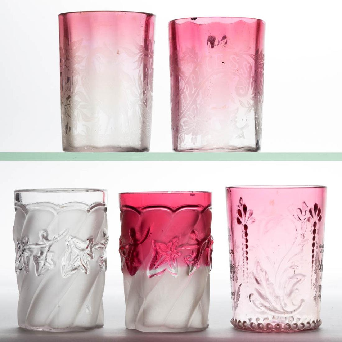 ASSORTED VICTORIAN GLASS TUMBLERS, LOT OF FIVE