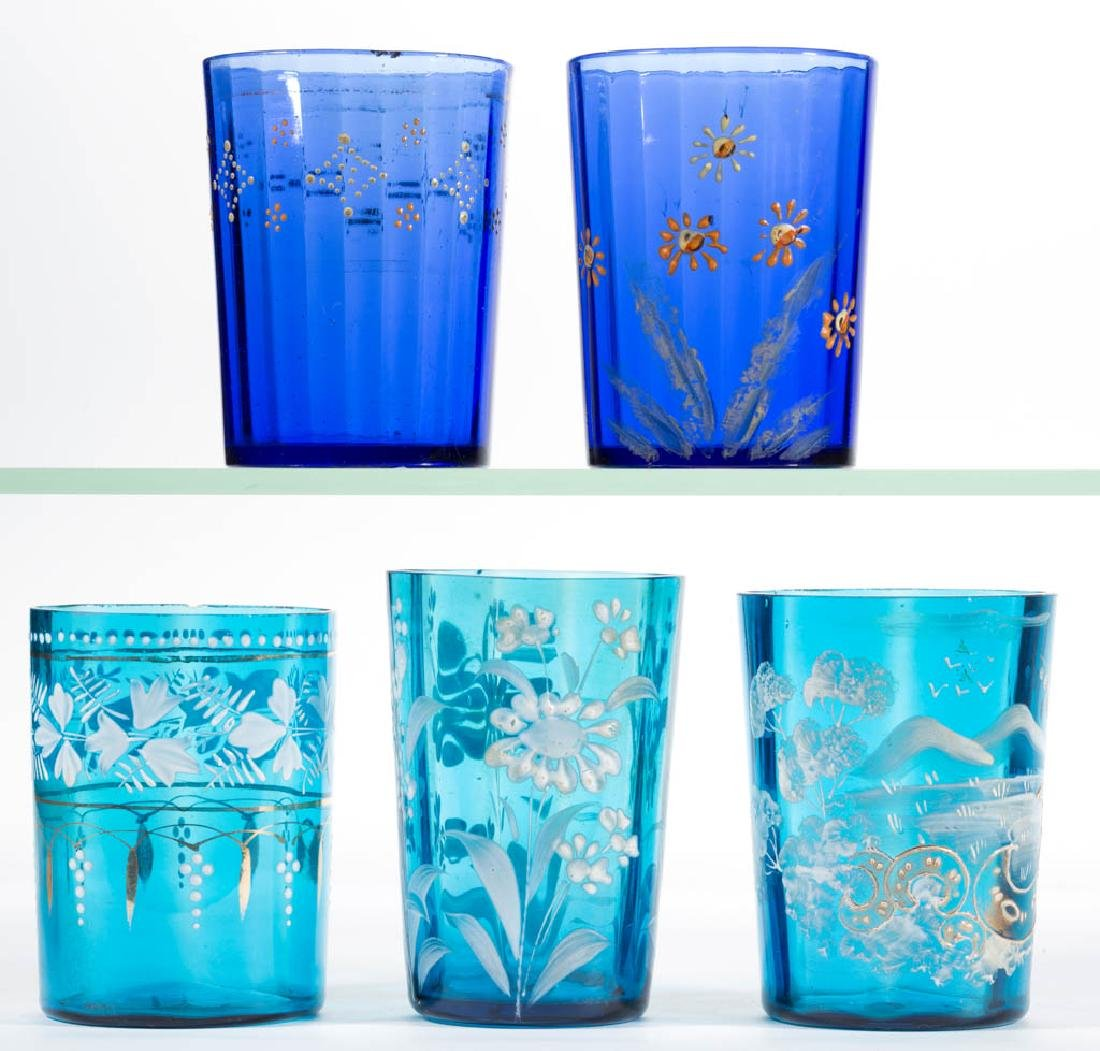 ASSORTED PANEL-OPTIC AND ENAMEL-DECORATED TUMBLERS, LOT