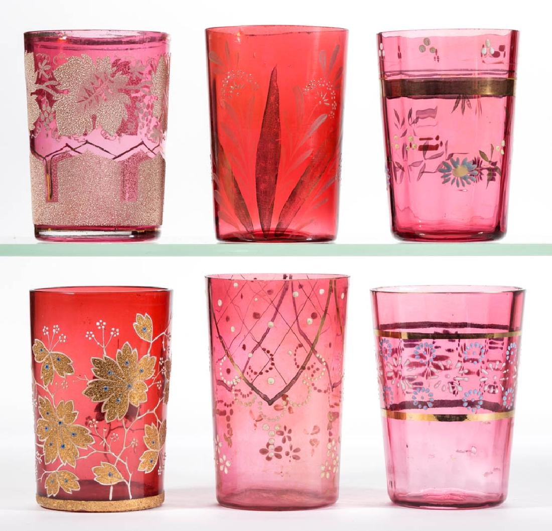 ASSORTED CRANBERRY AND ENAMEL-DECORATED GLASS TUMBLERS,