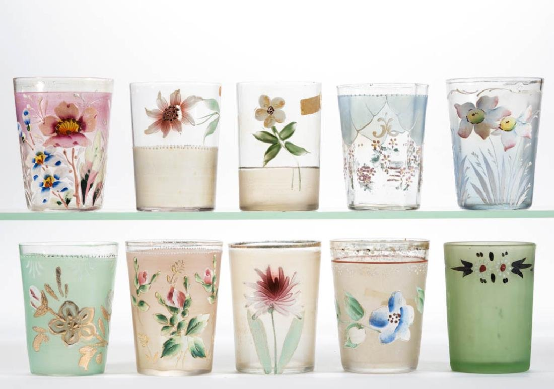 ASSORTED VICTORIAN ENAMEL-DECORATED TUMBLERS, LOT OF