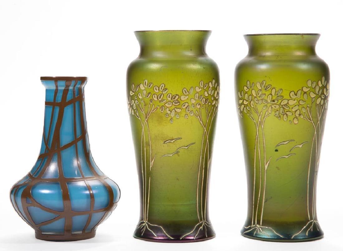 BOHEMIAN IRIDIZED ART GLASS VASES, LOT OF THREE
