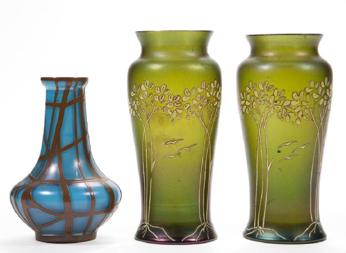 BOHEMIAN IRIDIZED ART GLASS VASES, LOT OF THREE