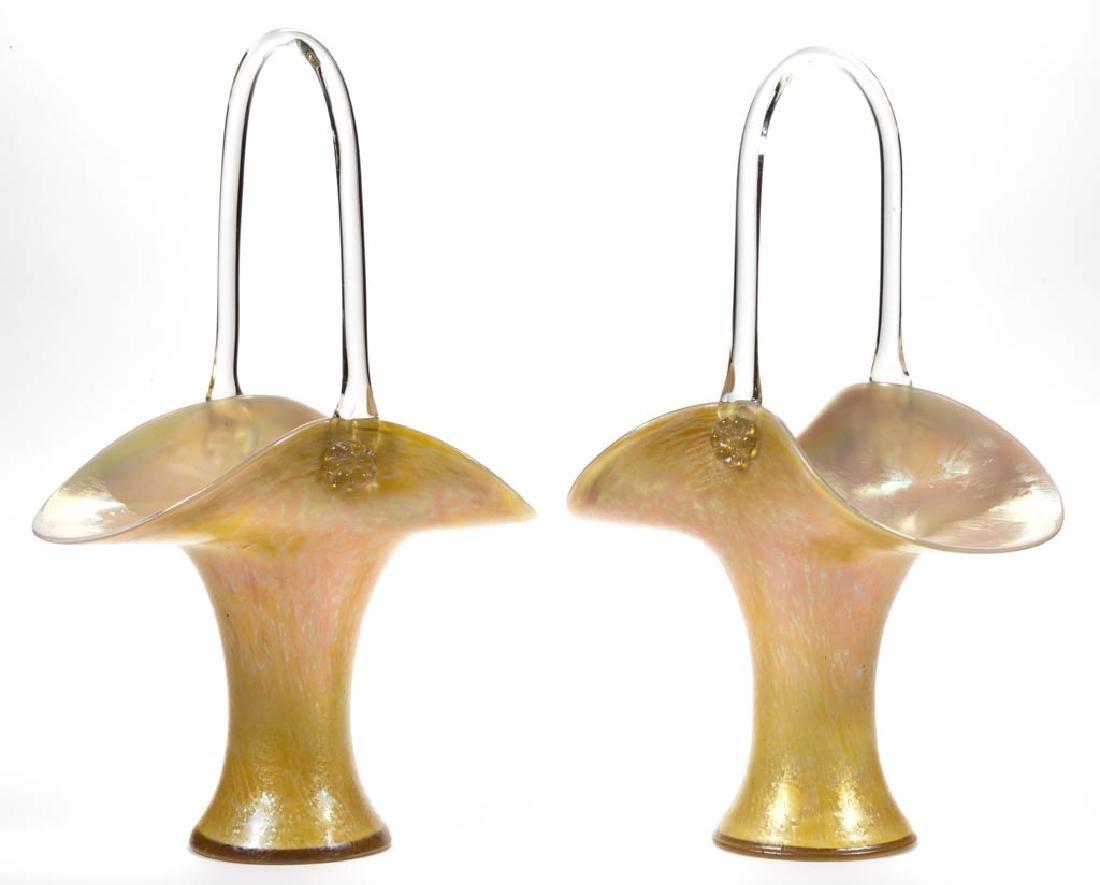 LOETZ ATTRIBUTED PAPILLON CANDIA ART GLASS PAIR OF